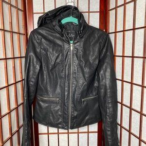 Black faux leather jacket w detachable hood
